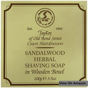Taylor of Old Bond Street Sandalwood Shaving Soap in a Wooden Bowl
