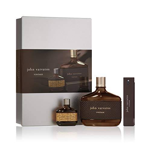 John Varvatos Vintage Eau de Toilette Spray, 3 Piece Mens Cologne Gift Set, Cologne for Men, 4.2 oz.