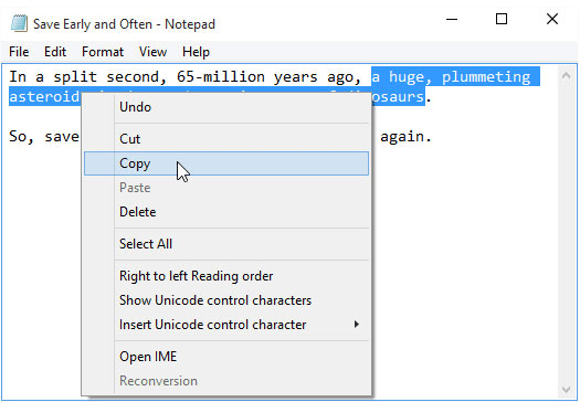 copy highlighted text