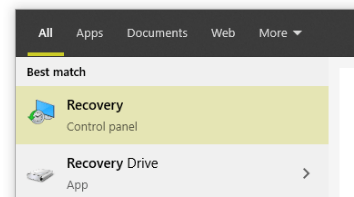 recovery in windows search result