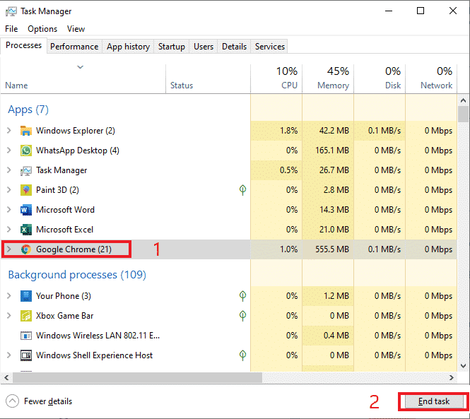 end google chrome in task manager