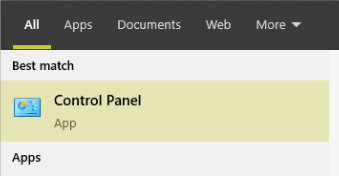 control panel result in windows search
