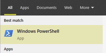 windows powershell result in windows search
