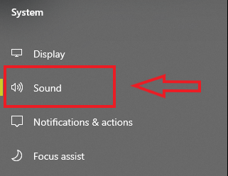 sound in system settings