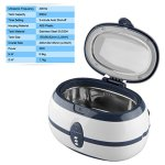 Floureon 600ml Ultrasonic Cleaner with 3 Minutes Digital Timer for Cleaning Jewelry Watches Razors Denture Eyeglasses Combs DVDs Rings Coins and More Tools & Parts (40KHz, 35W)