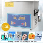 Nexttechnology Ultrasonic Cleaner 1.3L Stainless Steel Ultrasonic Tank Cleaning Equipment Heated Sonic Jewelry Washer Machine (1.3L)