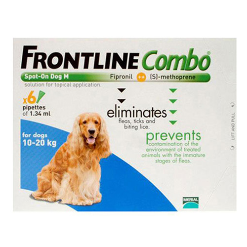 Frontline Plus (Combo) For Medium Dogs 23-44 Lbs (Blue) 12 Pipette