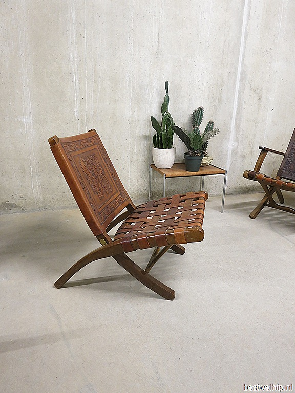 Vintage Leather Folding Chair H Wegner Style Bestwelhip