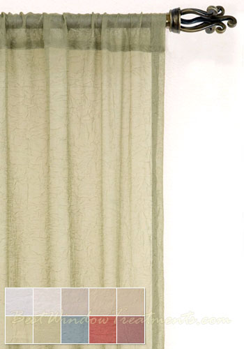 voile crushed semi sheer curtain drapery panels