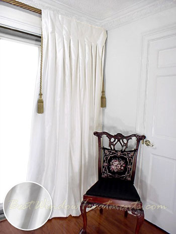 thai silk pleated draperies in winter white bestwindowtreatments com