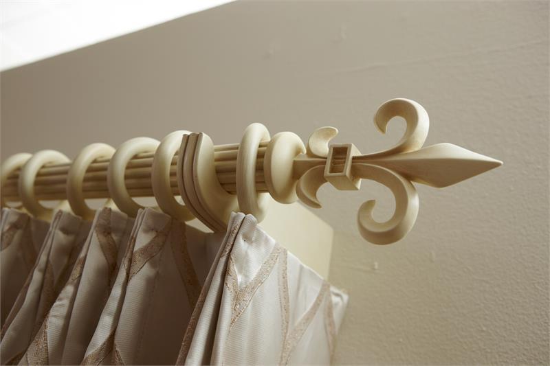 fleur de lis custom 1 3 8 wood rod in antique white bestwindowtreatments com