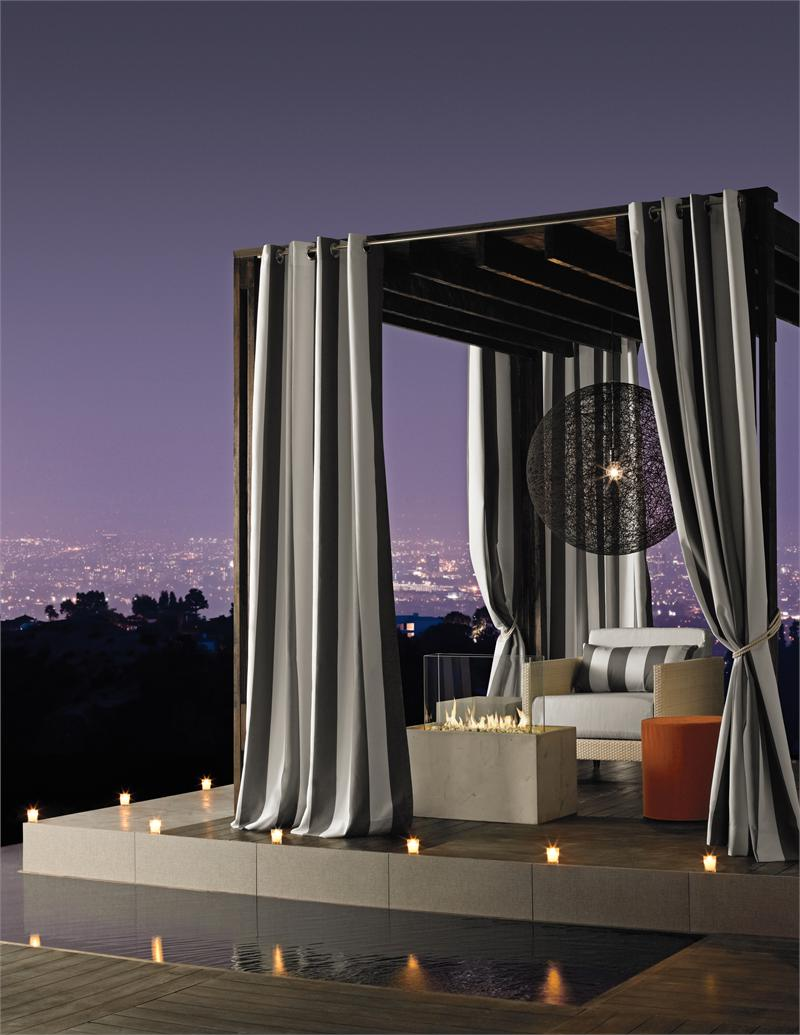 Sunbrella Stripe Outdoor Curtain Panel Available In 7 Colors