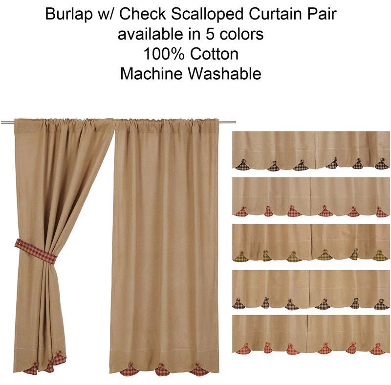 burlap w scallop check curtains pair www bestwindowtreatments com