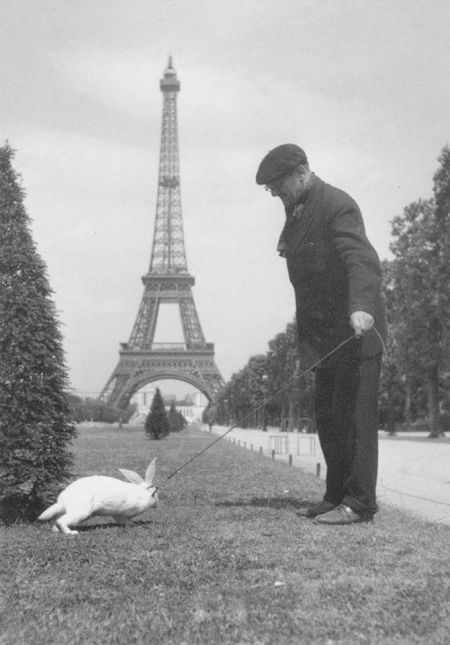 Carolyn_old man walking his pet rabbit