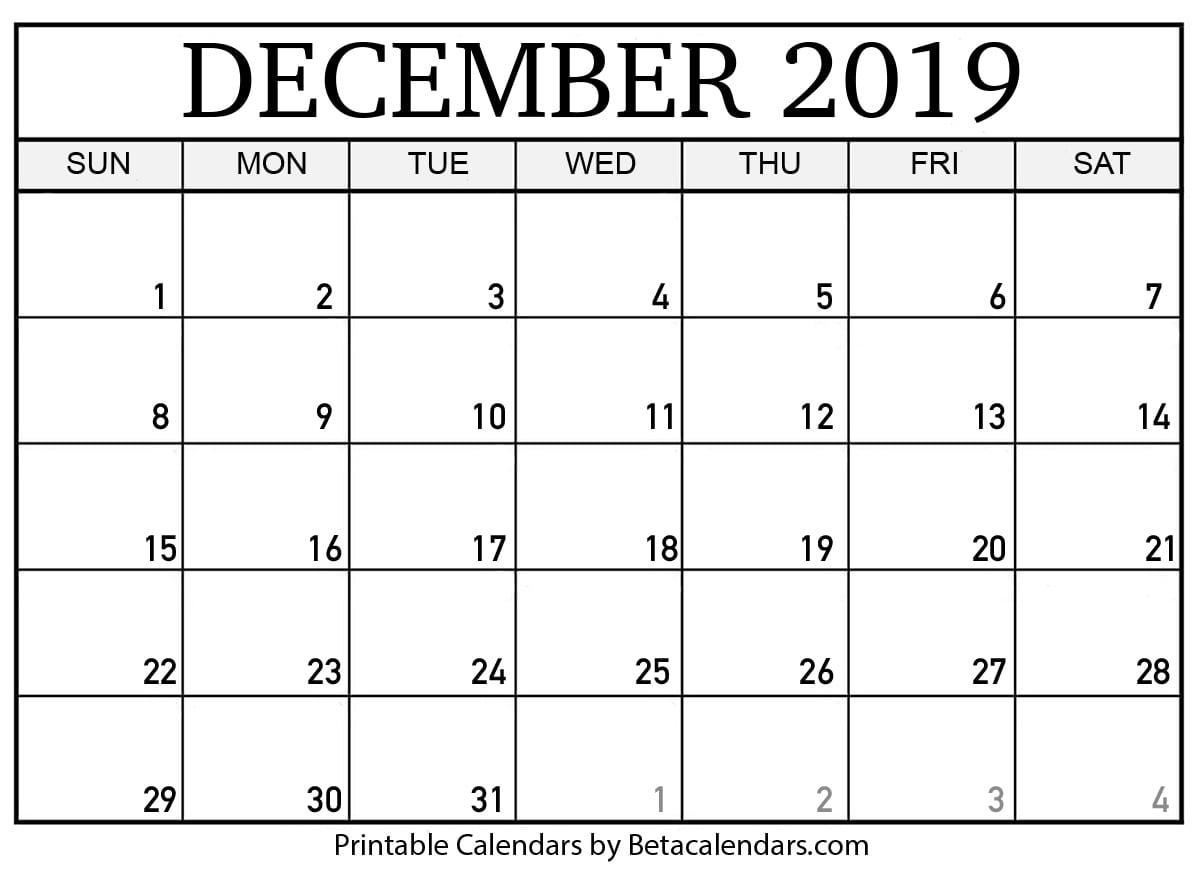 Blank December Calendar Printable