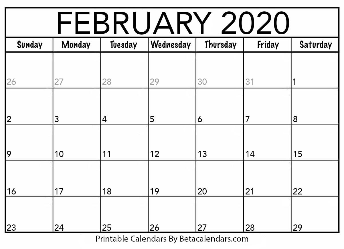 Printable February Calendar