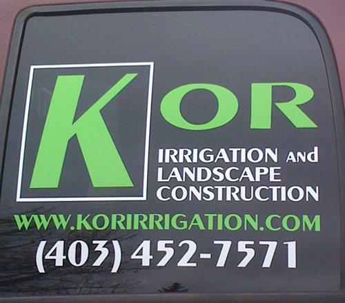 KOR Irrigation Window Decal