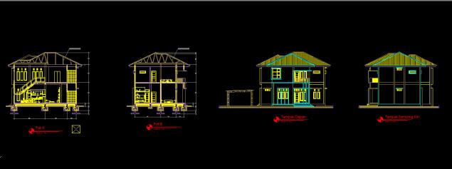Download Gambar Rumah Tinggal Lt 2 Format DWG AutoCAD