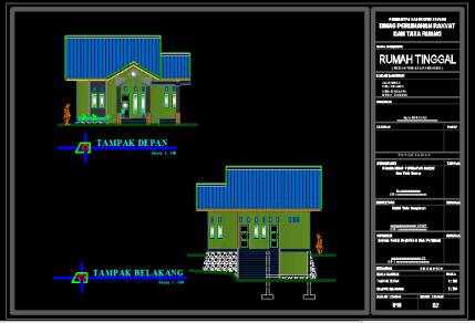 Gambar Rumah Type 92 Format DWG AutoCAD
