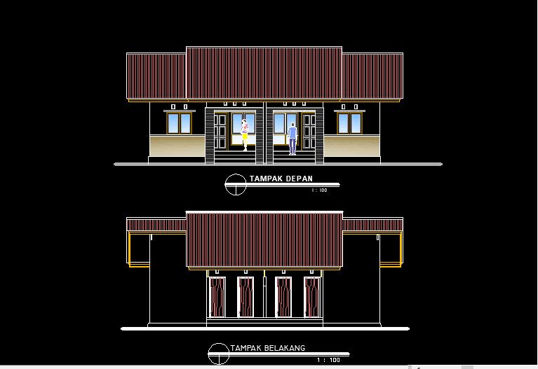 Download Gambar Bangunan Mess Karyawan Pemda File DWG AutoCAD