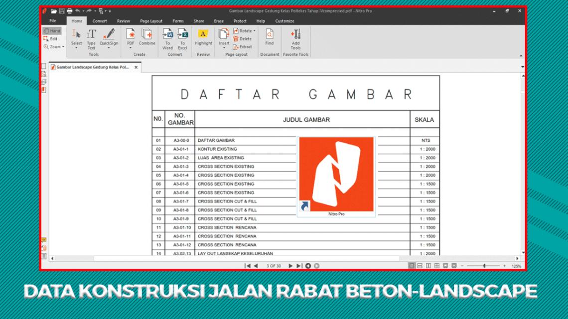 Data Konstruksi Jalan Rabat Beton-Landscape (RAB, Gambar Kerja, Spek Teknis)