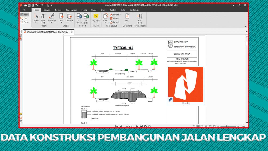Data Konstruksi Pembangunan Jalan (Gambar + Volume Kerja + KAK)