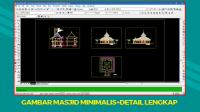 Download Gambar Masjid Minimalis File DWG+Detail Lengkap