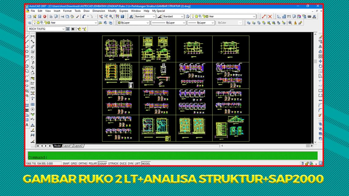 Gambar Ruko Lt 2 DWG+Analisa Struktur+SAP2000