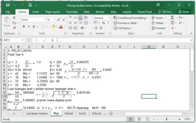 Download File Excel Hitung Struktur Beton Lengkap