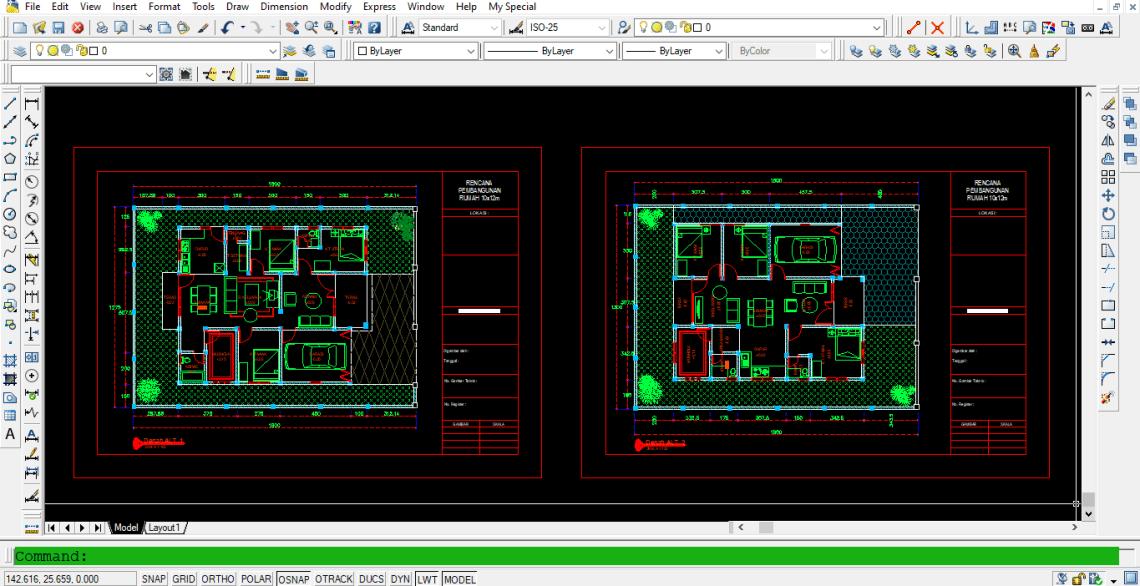 Download Gambar Denah Rumah 10x12 m + Detail DWG AutoCAD