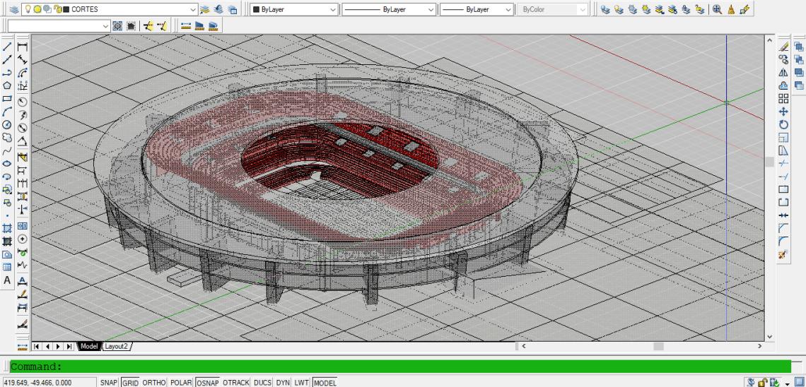 Download Gambar Desain Stadion 3D file DWG AutoCAD