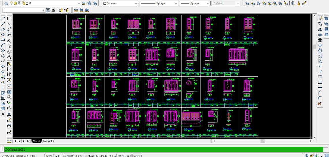 Download Gambar Detail Kusen Pintu dan Jendela Kayu Aluminium DWG AutoCAD