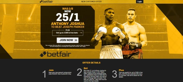 Betfair Anthony Joshua Promotion