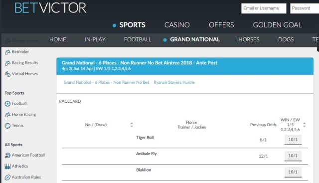 Betvictor Grand National 6 Each-Way Places