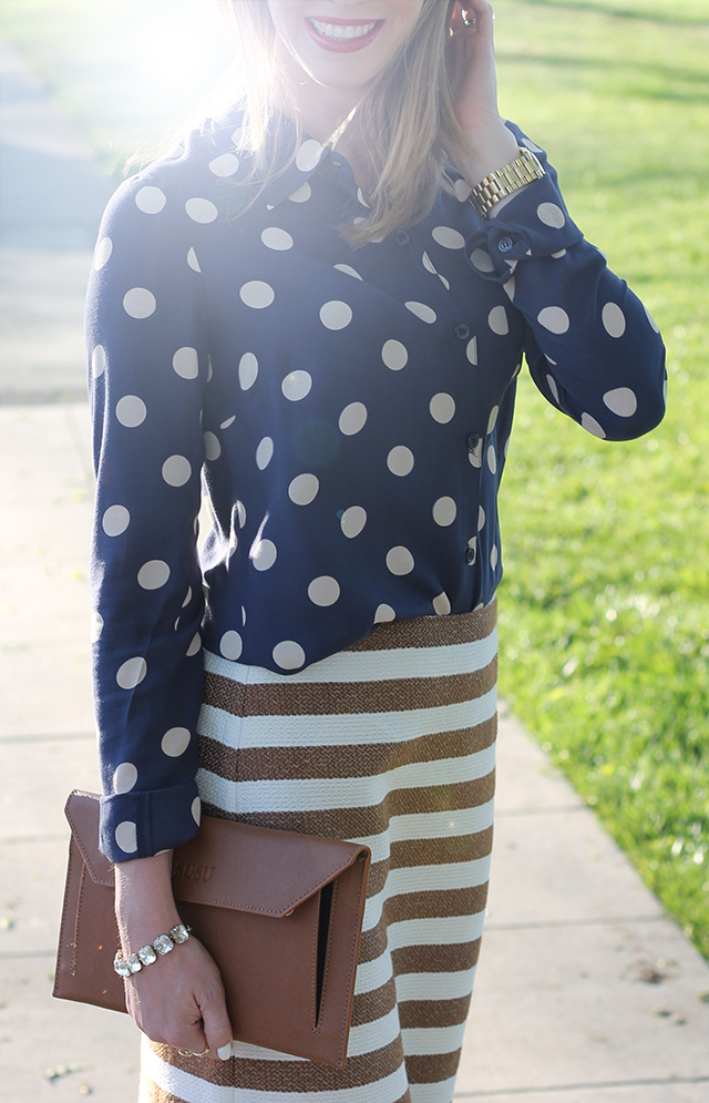 polkadot and stripe outfit