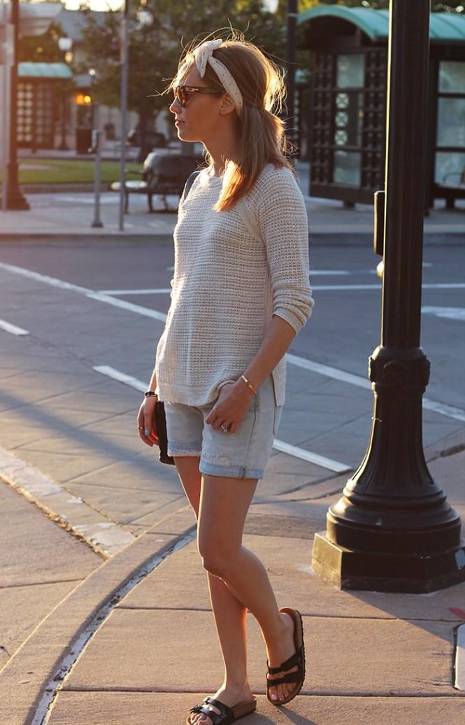 waffle sweater, beige sweater, cream sweater, demin shorts, birkenstocks, headband, date night outfits, day date outfit ideas