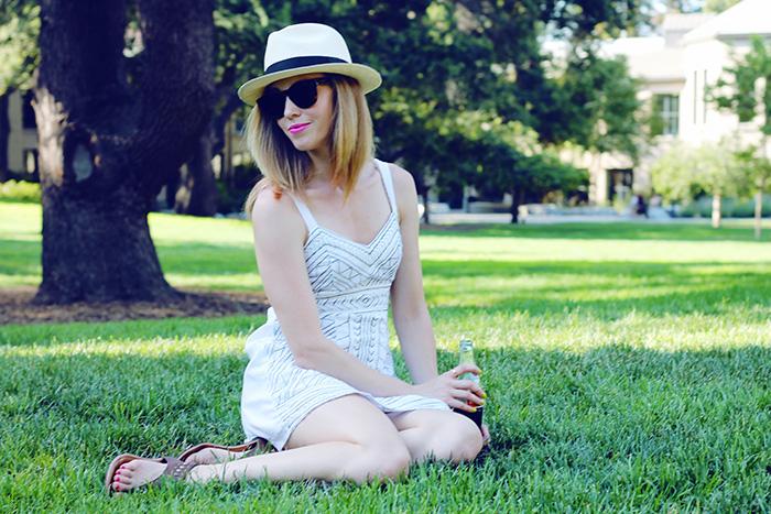 white dress, eshakti, summer dress, fedora, summer fedora