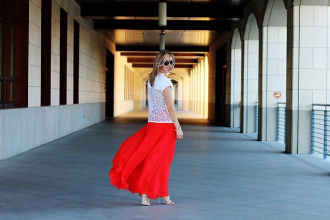 POPLIN COMBINED CROSSOVER TOP, zara shirt, pleated skirt, bebe skirt, maxi skirt, red skirt,