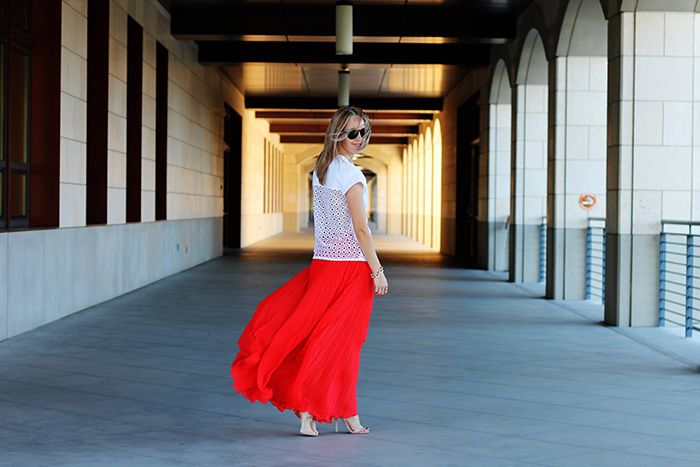 POPLIN COMBINED CROSSOVER TOP, zara shirt, pleated skirt, bebe skirt, maxi skirt, red skirt,