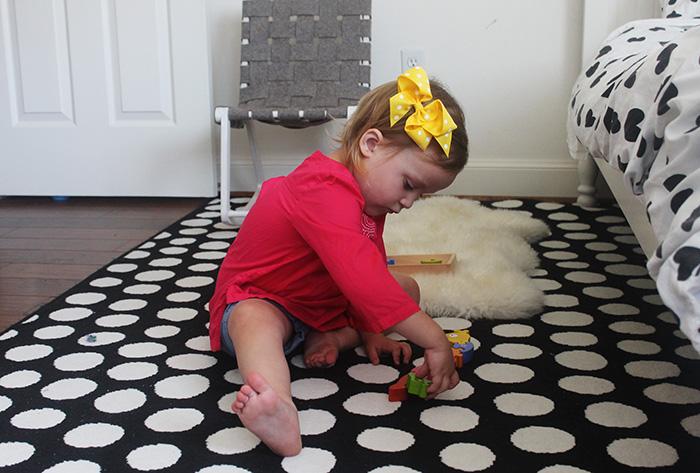 black and white rugs, tea collection, polka dot rug, twig creative chair, kids rocking chair