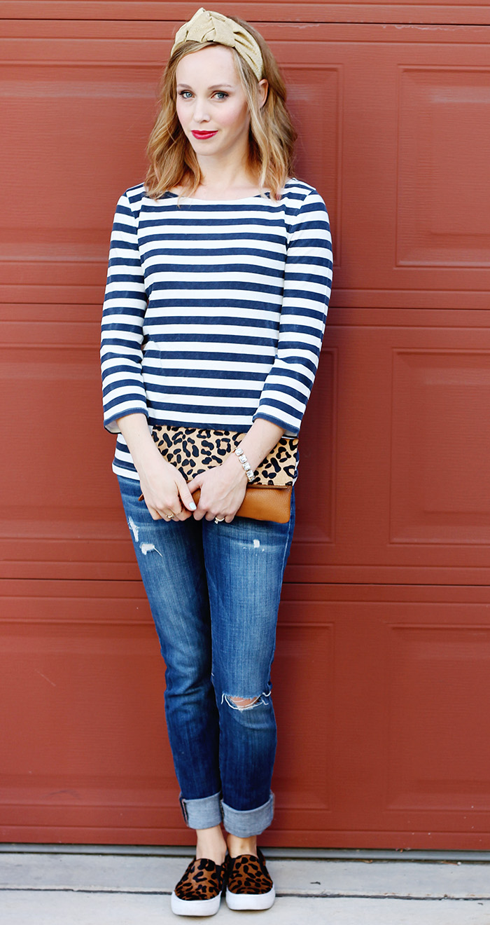 stripe shirt, leopard clutch, gap clutch, ripped jeans, distressed denim, turban trend, leopard shoes, steve madden shoes, joe's jeans, france luxe hair accessories