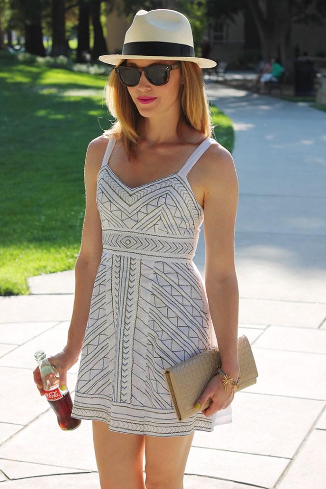 white dress, eshakti, summer dress, j.crew  fedora, summer hat, summer fedora, white fedora, nude clutch, tan clutch, summer clutch