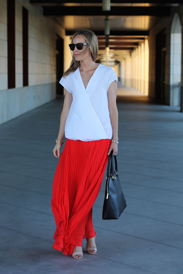 Tory Burch bag, maxi skirt with heels, while blouse, zara blouse, celine sunglasses, red and white outfit