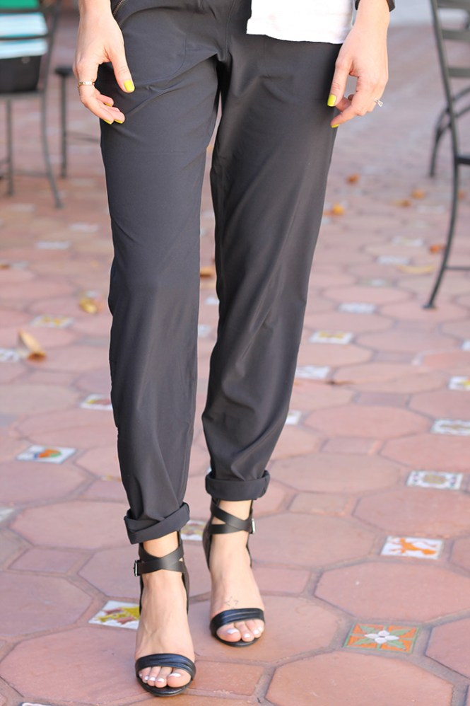 black pants, jogger pants, city pant, sporty chic pants, joe's jeans shoes, black strappy sandals