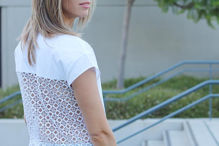 open back, white zara shirt, zara short sleeved shirt, white short sleeved shirt