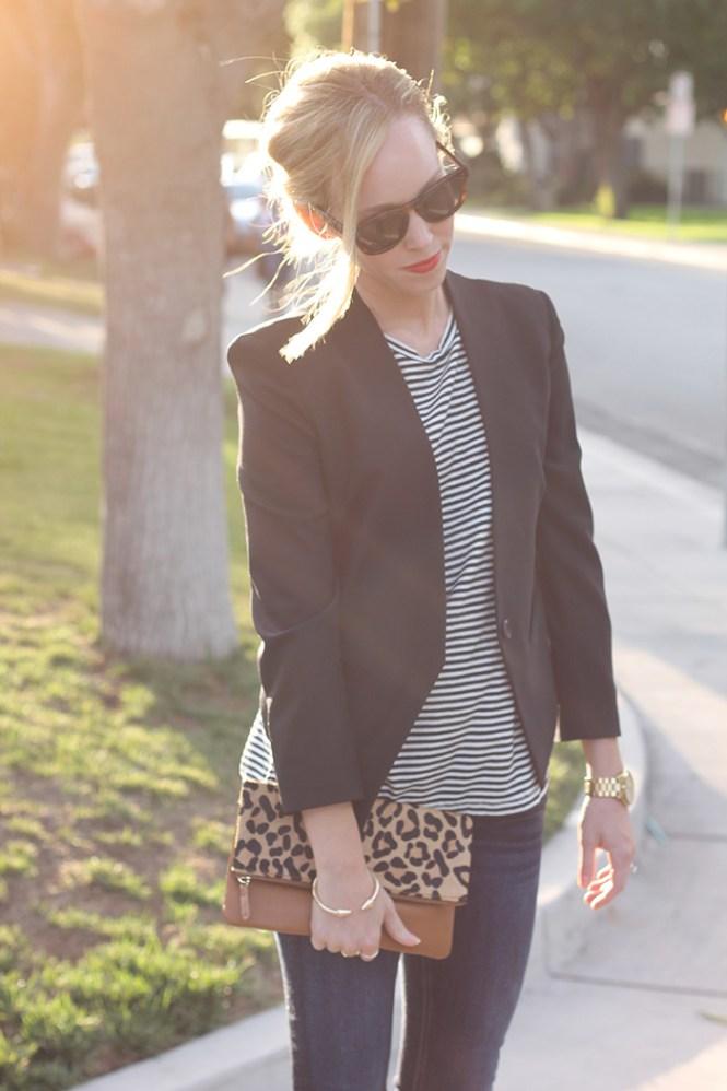 black blazer, wardrobe staples, striped tank, leopard clutch