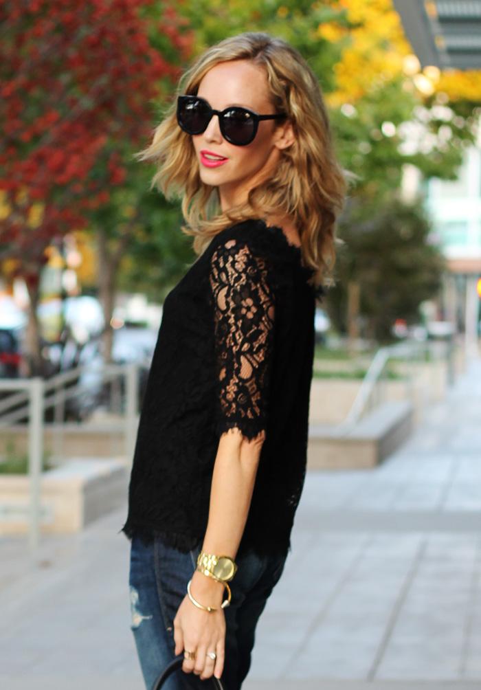 karen walker super duper, michael kors watch, black work shirt, lace work shirt, lace piperlime shirt
