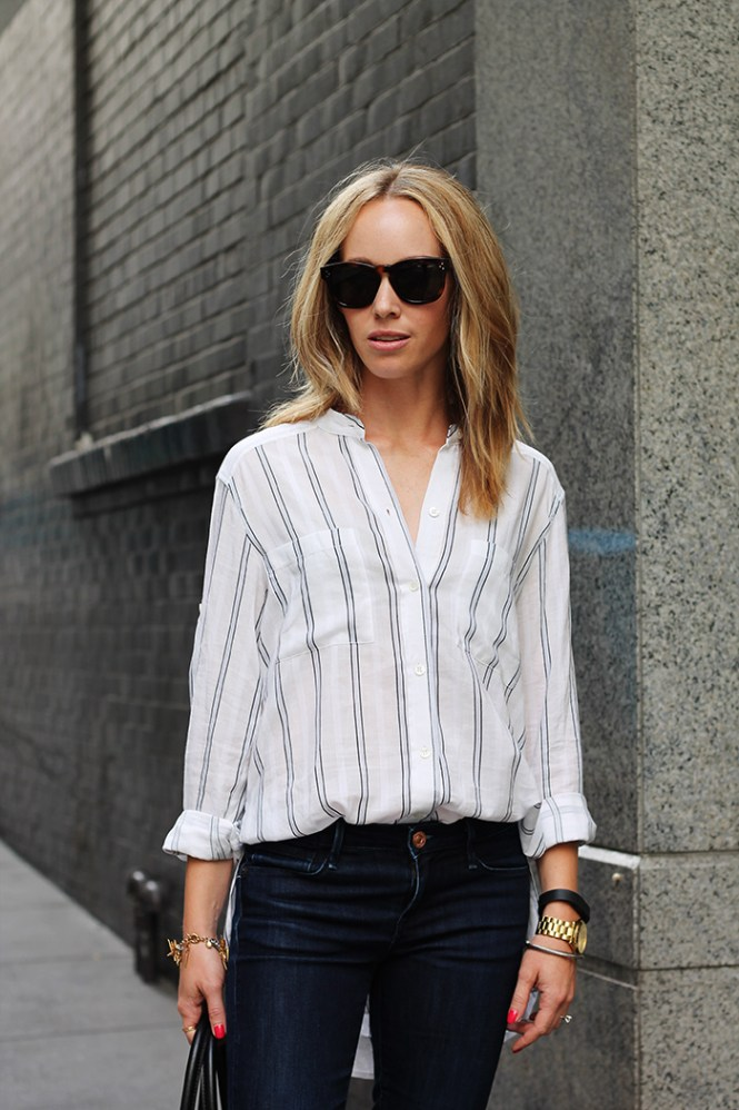 striped work shirt