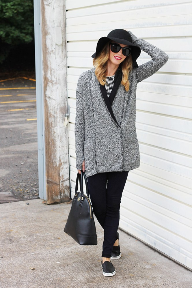lululemon sweater, tory burch robinson dome, black tory burch bag, dv perforated flats, black skinny jeans, striped madewell tank, stipe tank, black and white outfits, grayscale outfits
