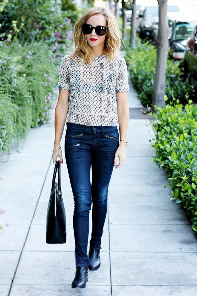 rag and bonde jeans, skinny jeans, sheer blouse, sheer shirt
